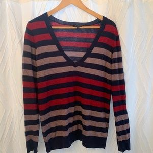 The Limited - Striped V-neck Sweater